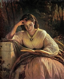 Reading Woman by 19th century Russian painter Ivan Kromskoi. Photo by paukrus, under a Creative Commons license on flickr.