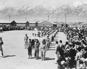 Evacuees of Japanese Ancestry Attending Memorial Day Services at Manzanar, California, a War Relocation Authority Center, May 1942, courtesy of Library of Congress